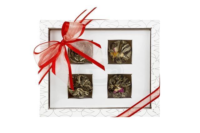 Dárková sada 4 kvetoucích čajů Asteria bílá