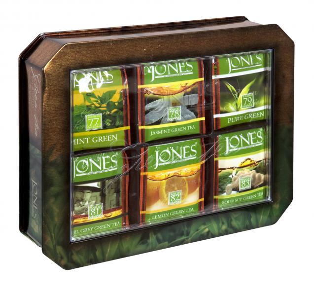 Dárkové balení zelených čajů JONES v plechovce